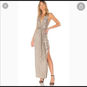 Rachel Zoe Charlize holiday dress gown silver